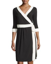Melissa Masse Contrast Trimmed Wrap Dress Black Ivory