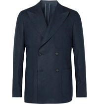 Caruso Unstructured Double Breasted Linen Suit Jacket Blue