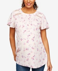 A Pea In The Pod Maternity Crochet Trim Blouse Pink Floral