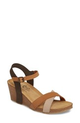 Bos. And Co. Lucca Wedge Sandal Multi Cognac Nubuck Leather
