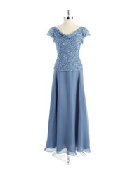 J Kara Petite Sequin Mock Top Gown Dusty Blue