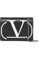 Valentino Garavani Printed Leather Shoulder Bag Black