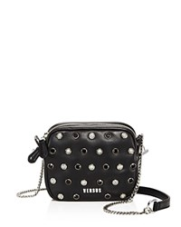Versus By Versace Pochette Studded Small Leather Crossbody Black Silver