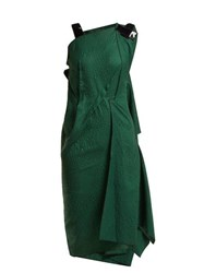 Roland Mouret Cedrela Silk Blend Jacquard Asymmetric Midi Dress Green