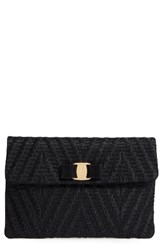 Salvatore Ferragamo Vara Bow Leather Clutch
