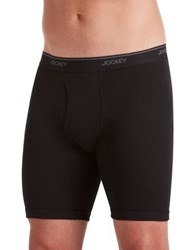 Jockey Big Man Staycool Cotton Midway Boxer Briefs Two Pack Blue Black