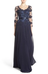Women's Js Collections Embellished Mock Two Piece Gown