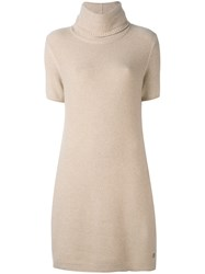 Loro Piana Turtleneck Knitted Dress Women Cashmere Goat Suede 44 Nude Neutrals