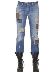 Ermanno Scervino Cotton Denim Jeans W Wool And Lace Patches