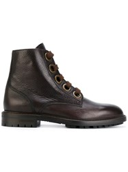Dolce And Gabbana Lace Up Boots Men Leather Rubber 42 Brown