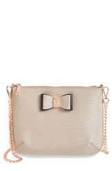 Ted Baker London Caisey Small Leather Crossbody Bag Grey Mink