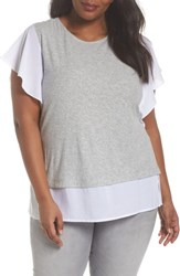 Vince Camuto Plus Size Women's Ruffle Sleeve Mix Media Top Grey Heather