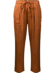 Raquel Allegra Drawstring Cropped Trousers Brown