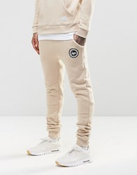 Hype Skinny Joggers With Crest Logo Sand Beige