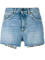 Saint Laurent Studded Denim Shorts Blue