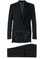 Dolce And Gabbana Three Piece Dinner Suit Black