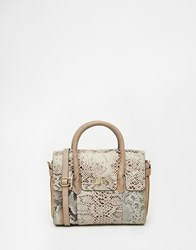 Urbancode Mini Tote Bag With Optional Shoulder Strap In Multi Faux Snakeskin Beige