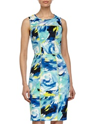 Maggy London Floral Print Sheath Scuba Dress Turquoise