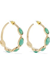 Kenneth Jay Lane Gold Plated Stone Earrings Turquoise