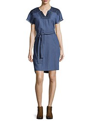 Beach Lunch Lounge Geometric Embroidered Cotton Dress Blue