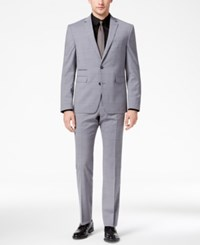 Vince Camuto Men's Slim Fit Stretch Medium Gray Windowpane Suit Grey