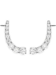 Cz By Kenneth Jay Lane Round Cubic Zirconia Curved Cuff Earrings Silver