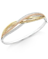 Macy's Diamond Tri Orbit Bangle Bracelet 1 2 Ct. T.W. In 14K Two Tone Gold And Sterling Silver