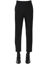 Saint Laurent Cropped Wool Gabardine Trousers Black