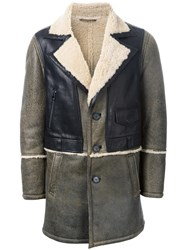 Drome Panelled Shearling Coat Brown