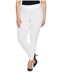 Hue Plus Size Embroidered Floral Hem Cotton Skimmer White Women's Casual Pants