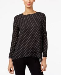 Vince Camuto Pleated Back High Low Blouse Black Dot
