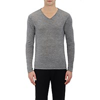 Barneys New York Men's V Neck Sweater Grey