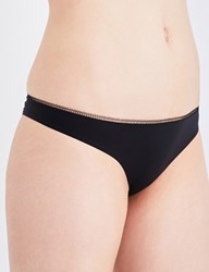 La Perla Peony Satin And Lace Brazilian Briefs Black