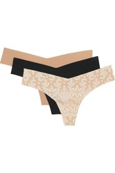 Commando Set Of Three Stretch Jersey Thongs Beige