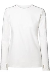 Tory Sport Banner Striped Stretch Jersey Top White