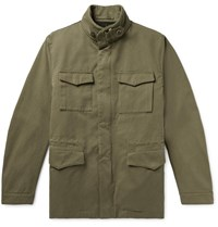 Incotex Montedoro Cotton Twill Field Jacket With Detachable Woven Lining Green