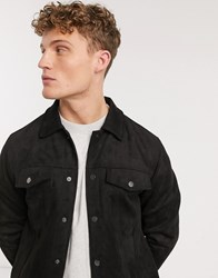 New Look Suedette Trucker Jacket In Black