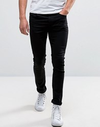 Selected Homme Jeans In Skinny Fit Stretch Denim Black