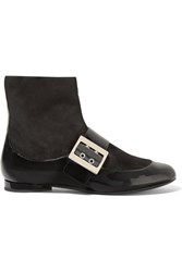 Lanvin Paneled Patent Leather And Suede Boots Black