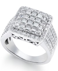 Macy's Diamond Cluster Engagement Ring 1 1 2 Ct. T.W. In 14K White Gold