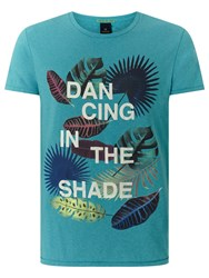 Scotch And Soda Dancing In The Shade Print T Shirt Surf Blue Melange