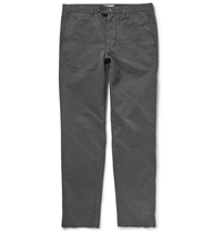 Officine Generale Regular Fit Cotton Twill Chinos Gray