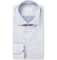 Etro Mercurio Slim Fit Polka Dot Cotton Shirt White