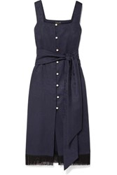 Mother Of Pearl Jane Fringed Organic Cotton And Wool Blend Jacquard Midi Dress Navy