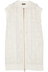Just Cavalli Embroidered Lace Hooded Vest Off White