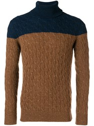 Eleventy Two Tone Cable Knit Sweater Brown