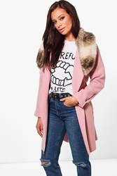Boohoo Eliza Faux Fur Collar Wool Look Coat Pink