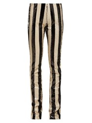 Marques'almeida Striped Sequin Kick Flare Trousers Black White