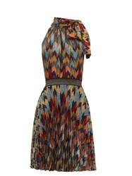 Missoni Pleated Skirt Chevon Patterned Knitted Dress Multi