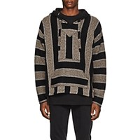 Adaptation Striped Cashmere Baja Hoodie Gray